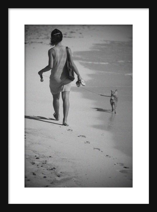 Girl on the Beach BW framed