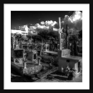 Cemetary Spooky BW Framed