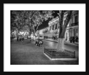 Plaza at Night Framed