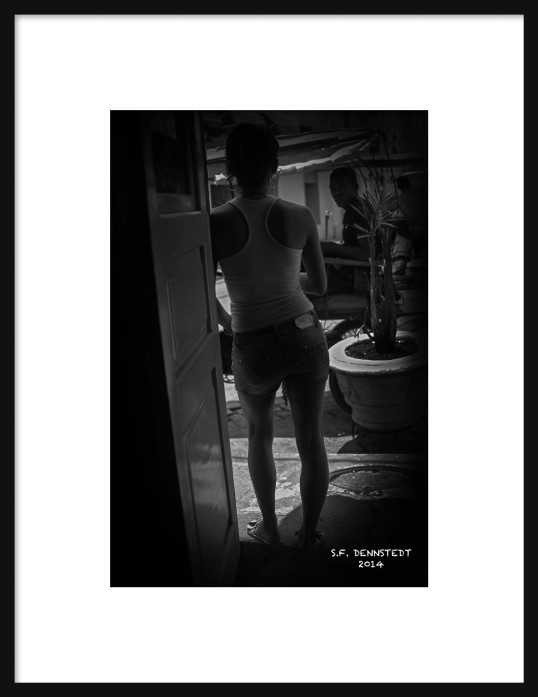 Girl in Door BW Framed