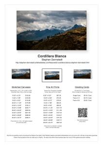 Cordillera Blanca Sales Sheet