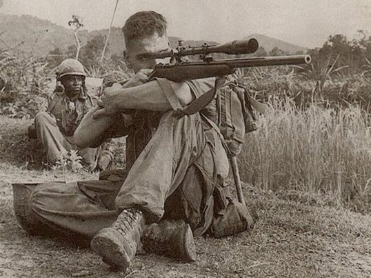 Marine Corps Scout Sniper, Carlos Hathcock, Photographed in Vietnam